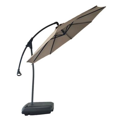 11 ft. Outdoor Cantilever Patio Umbrella with Base in Champange