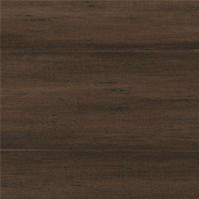 Take Home Sample   Hand Scraped Strand Woven Mushroom Click Bamboo Flooring    5 In.