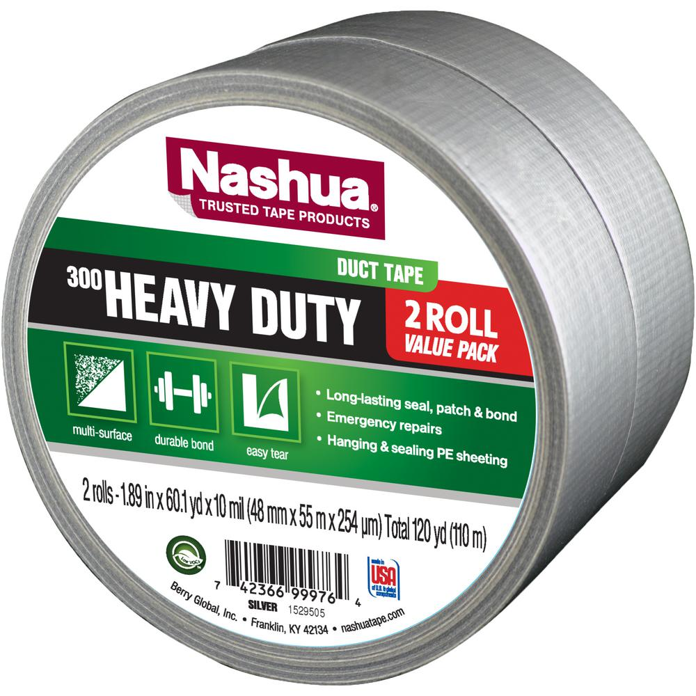 1.89 in. x 120 yd. 300 Heavy-Duty Duct Tape in Silver
