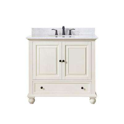 Thompson 37 in. W x 22 in. D x 35 in. H Vanity in French White with Marble Vanity Top in Carrera White with Basin
