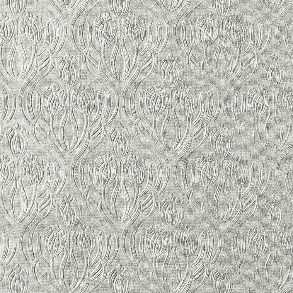 null Printemps Pewter Tulip Ogee Wallpaper