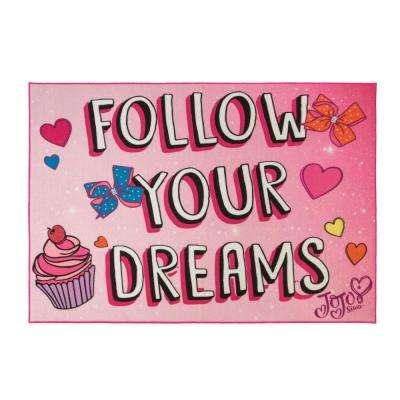 Jo Jo Siwa's Multi-Colored 5 ft. x 7 ft.  Follow Your Dreams Indoor Juvenile Area Rug