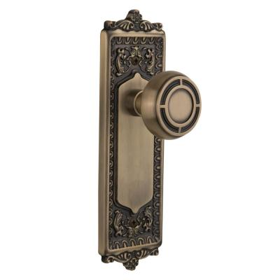 Nostalgic Warehouse Egg And Dart Plate Single Dummy Mission Door Knob In Antique Brass 716654 The Home Depot