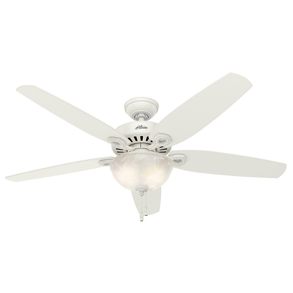 Indoor Snow White Bowl Ceiling Fan With Light Kit