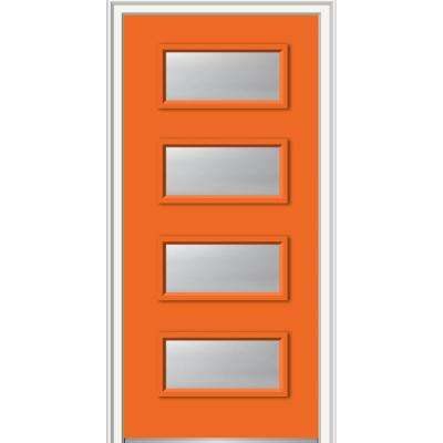 32 in. x 80 in. Celeste Right-Hand Inswing 4-Lite Clear Painted Fiberglass Smooth Prehung Front Door on 6-9/16 in. Frame