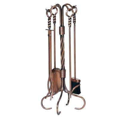 5-Piece Antique Copper Fireplace Tool Set