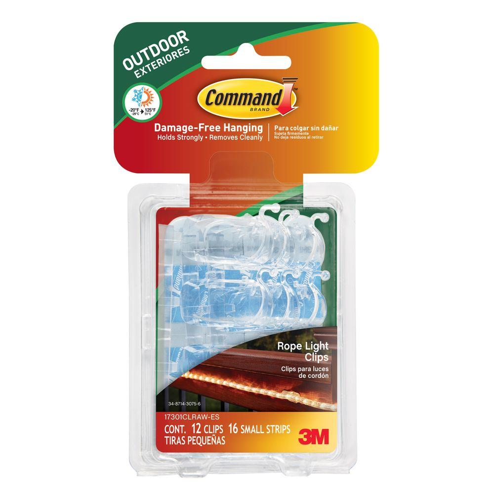Command Outdoor Rope Light Clips With Foam Strips 12 Piece Per Pack