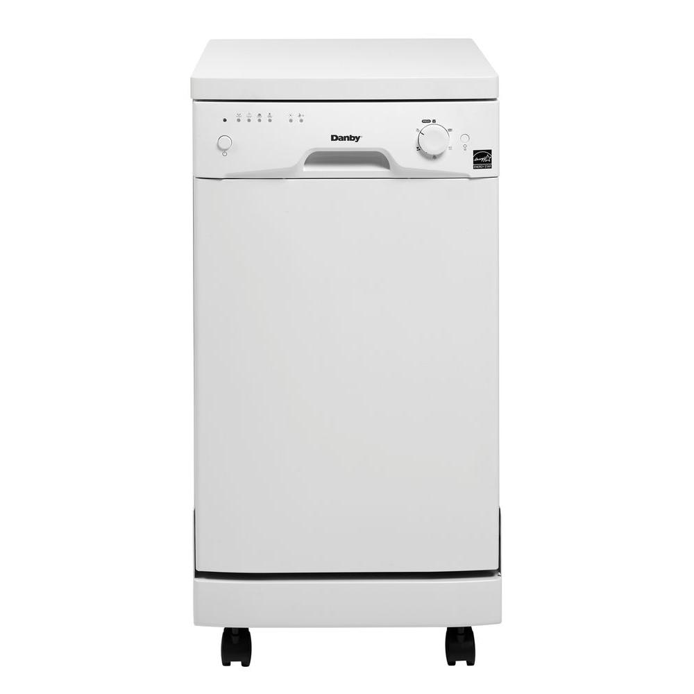 Danby 18 in. Portable Dishwasher in White with 8 Place Setting Capacity