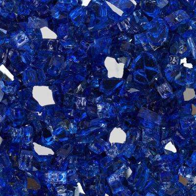 1/2 in. 10 lbs. Meridian Blue Reflective Tempered Fire Glass in Jar