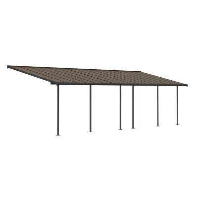 Sierra 10 ft. x 32 ft. Gray/Bronze Patio Cover Awning