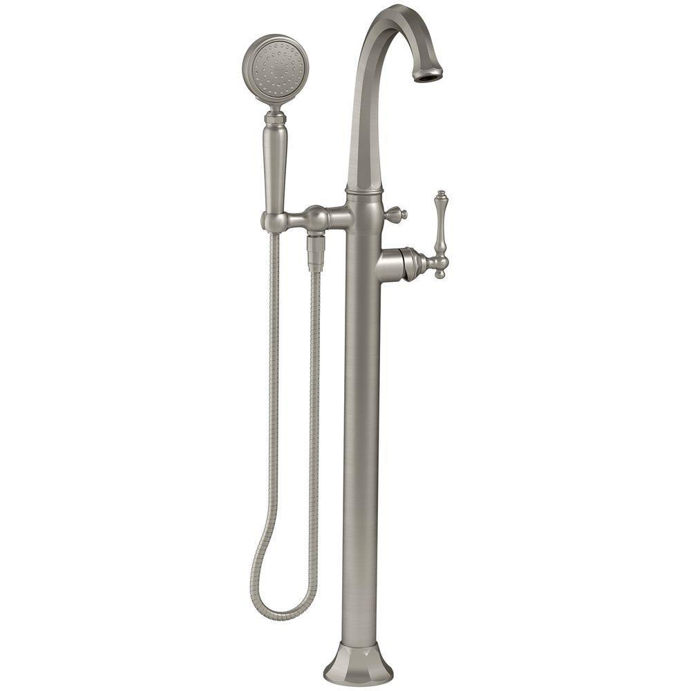 Kohler Kelston 1 Handle Floor Mount Bath Filler With Hand Shower In Vibrant Brushed Nickel
