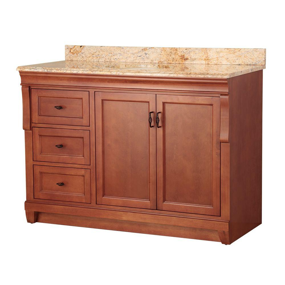 Home Decorators Collection Naples 49 in. W x 22 in. D Bath Vanity in Warm Cinnamon with Left Drawers with Stone Effects Vanity Top in Tuscan Sun was $1119.0 now $783.3 (30.0% off)