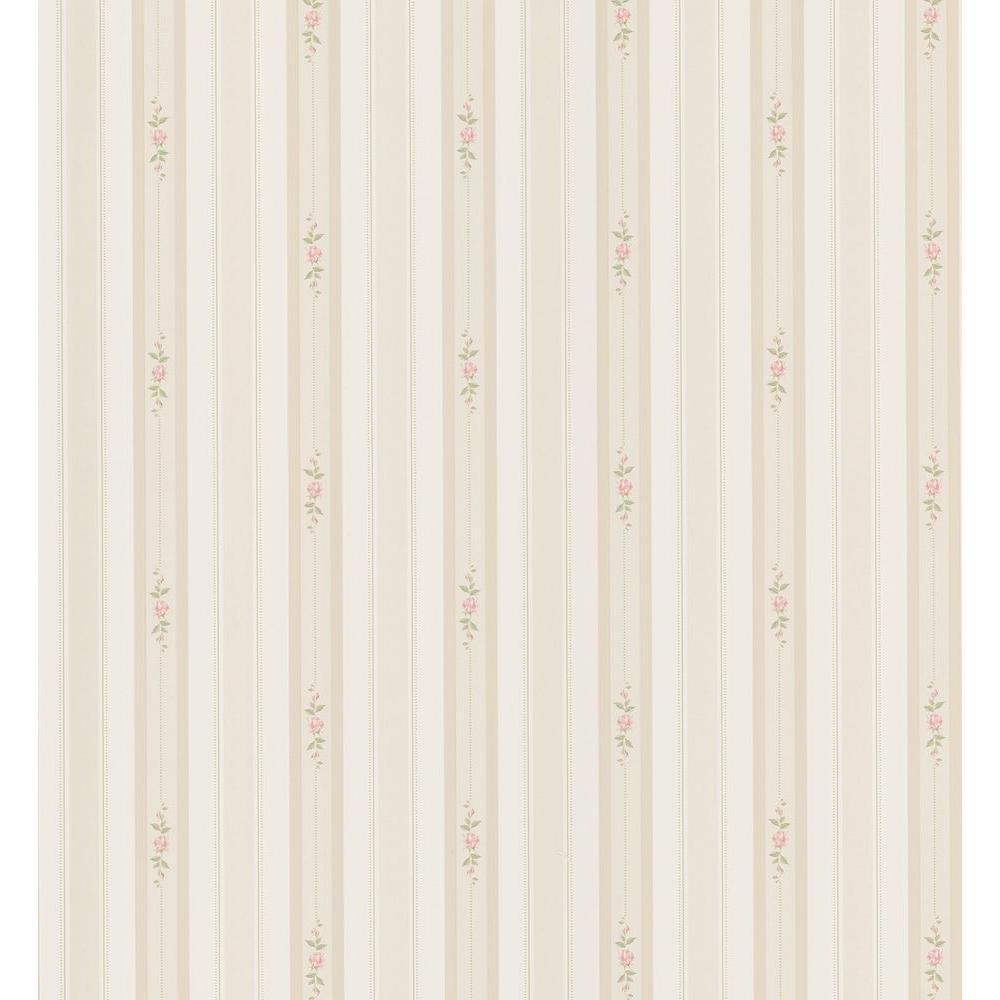 Cottage Living Taupe Rosebud Stripe Wallpaper Sample