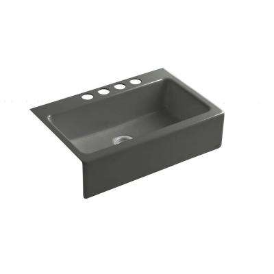 Dickinson Undermount Apron-Front Cast Iron 33 in. 4-Hole Single Basin Kitchen Sink in Thunder Grey