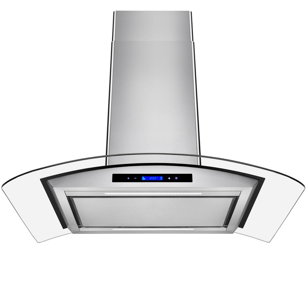 36 in. Convertible Island Mount Range Hood in Stainless Steel with