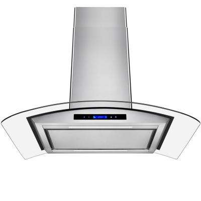 36 in. Convertible Island Mount Range Hood in Stainless Steel with Tempered Glass and Touch Controls