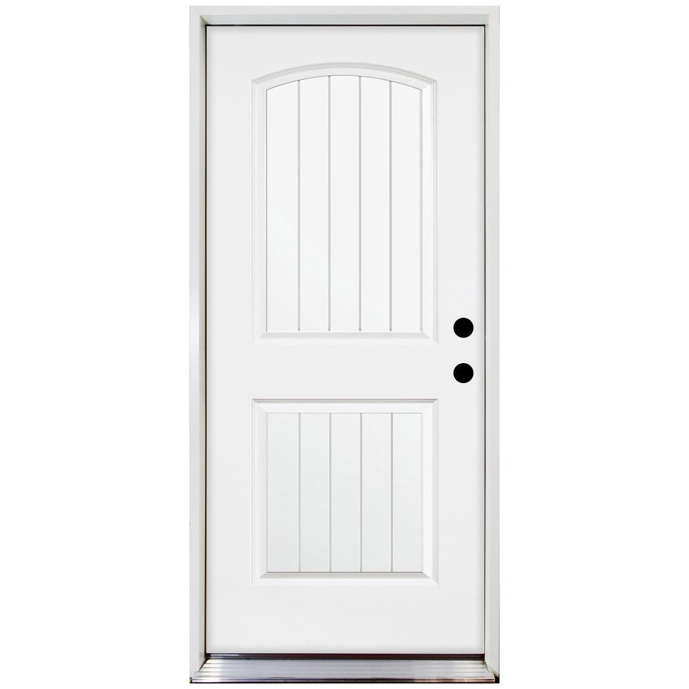 Steves & Sons 36 in. x 80 in. Premium 2-Panel Plank Primed White Steel Prehung Front Door with 36 in. Left-Hand Inswing and 6 in. Wall