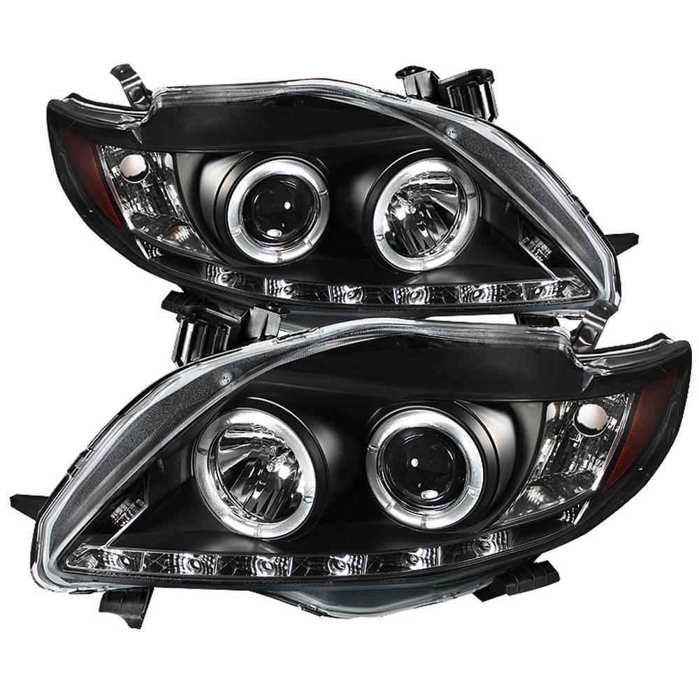 Toyota Corolla 09 10 Projector Headlights Led Halo Drl Black High H1 Included Low
