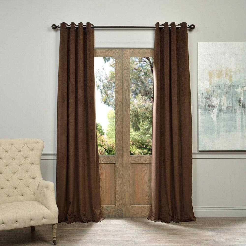 Exclusive Fabrics & Furnishings Blackout Signature Java Brown Grommet Blackout Velvet Curtain - 50 in. W x 84 in. L (1 Panel)