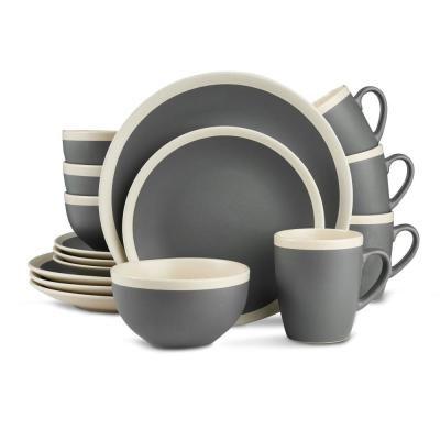 16-Piece Stoneware Round Dinnerware Set, 2 Tone Dark Gray and Cream with Speckle Dishes (Service for 4)