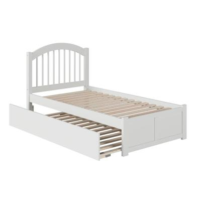 Windsor Twin Platform Bed with Flat Panel Footboard and Twin Size Raised Panel Trundle Bed in White