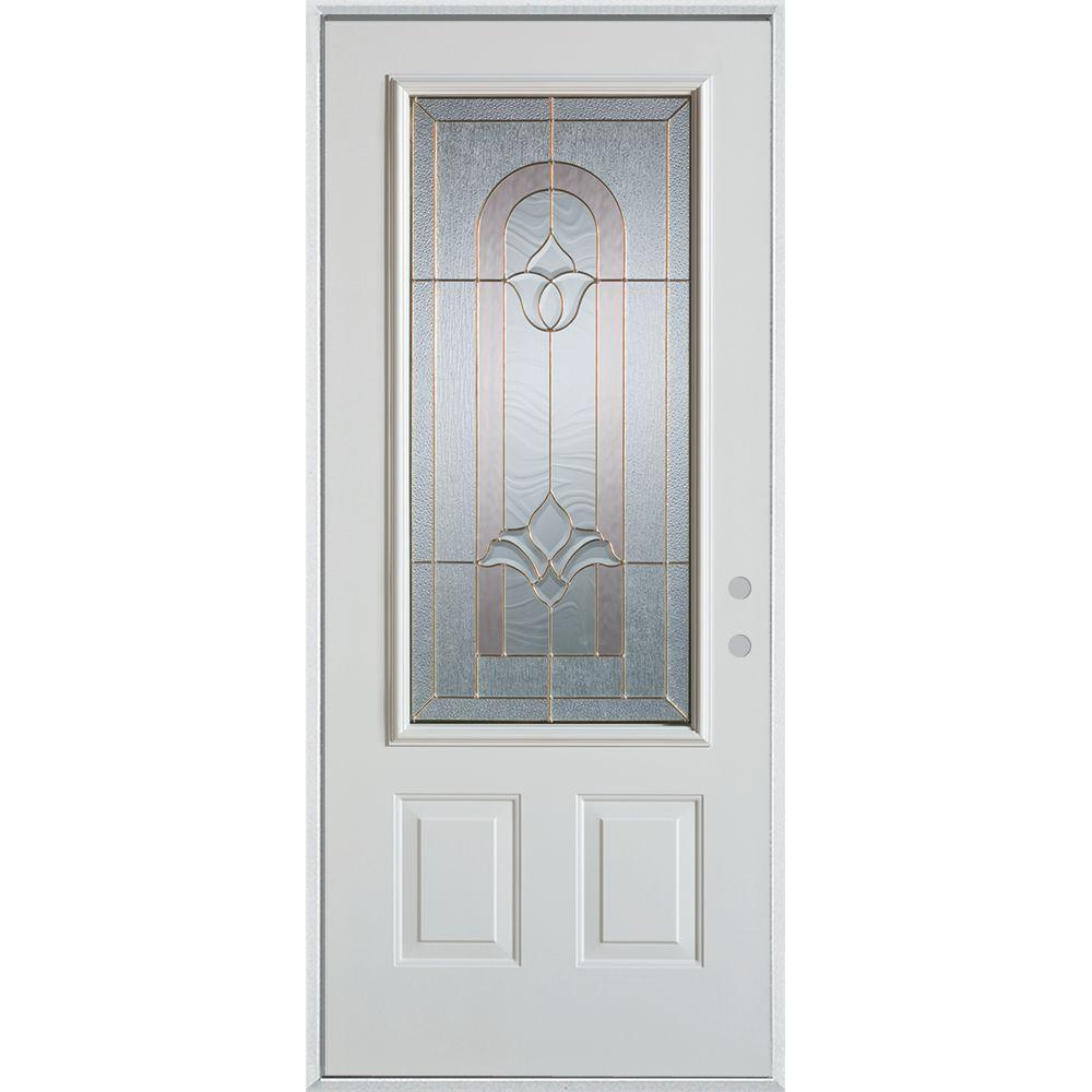37.375 in. x 82.375 in. Traditional Brass 3/4 Lite 2-Panel Prefinished