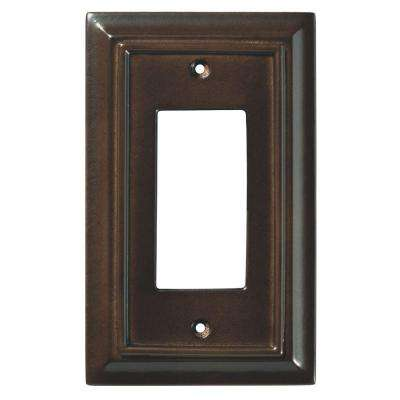 Architectural Wood Decorative Single Rocker Switch Plate, Espresso
