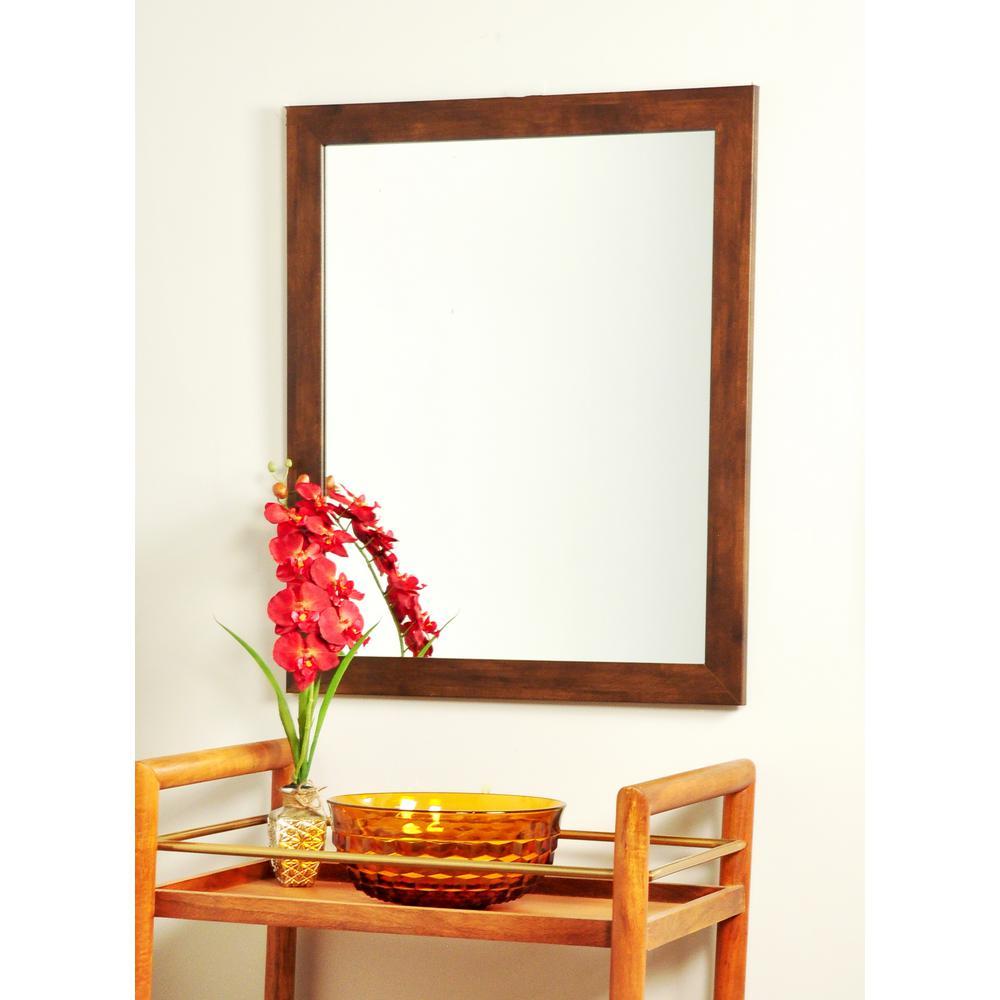 Modern Rectangle Mocha Brown Wall Mirror