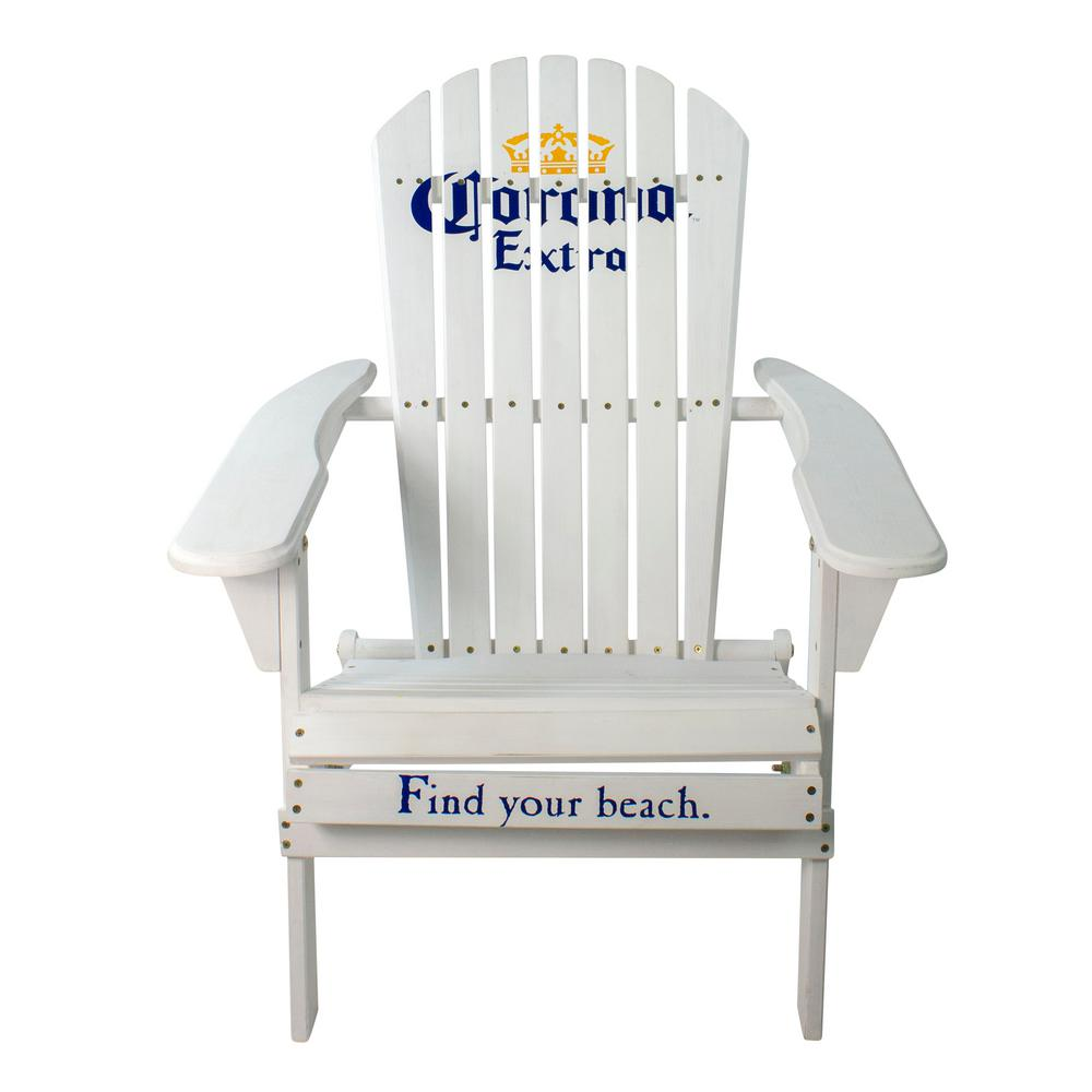 36 in. White Corona Classic Folding Wooden Adirondack Chair