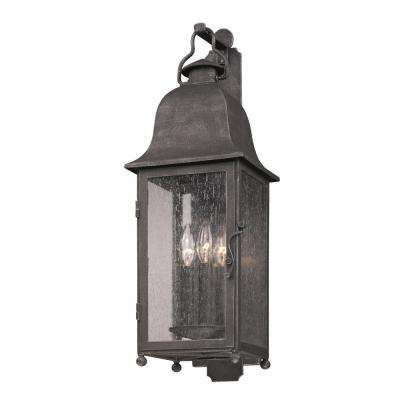 Larchmont 3-Light Aged Pewter Outdoor Wall Mount Lantern