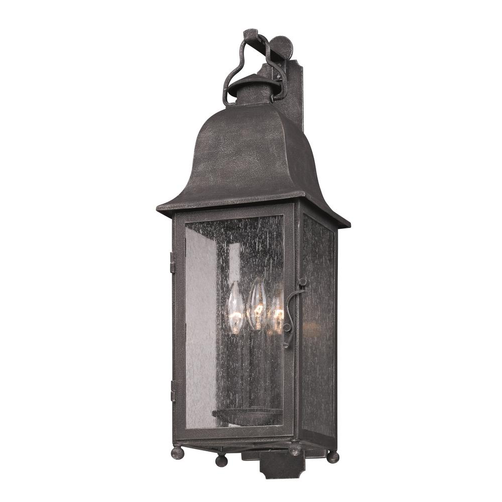 Troy Lighting Larchmont 3 Light Aged Pewter Outdoor Wall Lantern Sconce