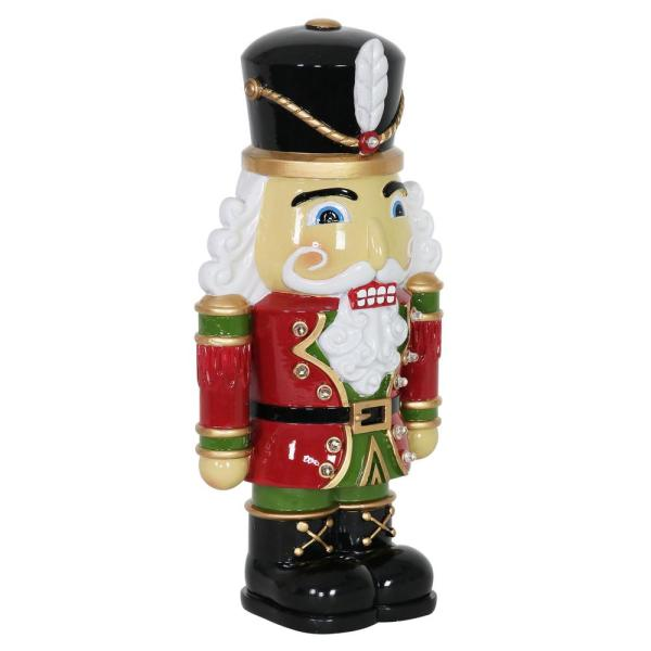 Exhart 12 In Resin Nutcracker Soldier With Leds Garden Statue 19270 Rs The Home Depot