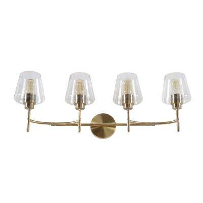 Dean 31 in. 4-Light Antique Brass Vanity Light with Clear Glass Shades