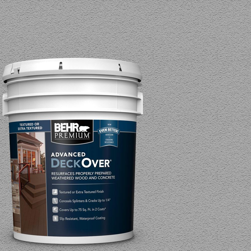 BEHR PREMIUM ADVANCED DECKOVER 5 gal. #SC-365 Cape Cod Gray Textured Solid Color Exterior Wood and Concrete Coating