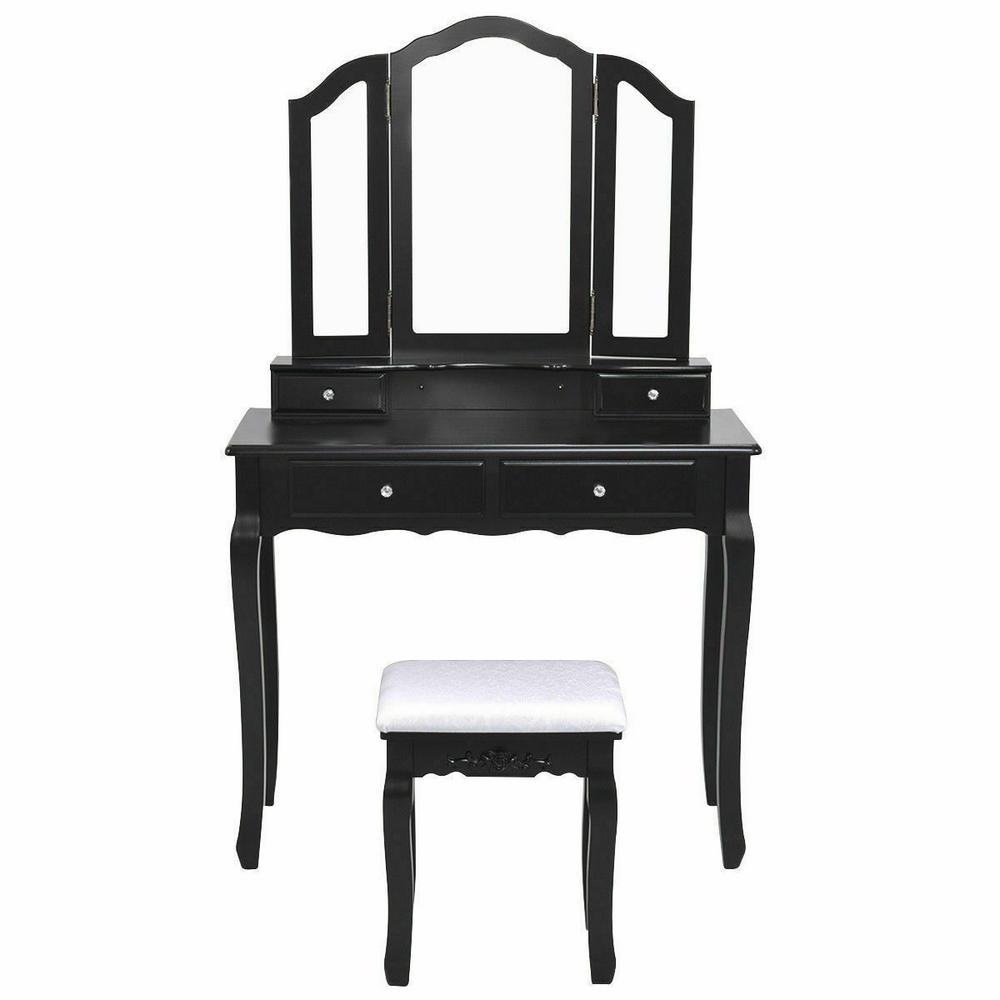 Tri Folding Mirror Vanity Makeup Table Stool Set Home Furni With 4 Drawers Black