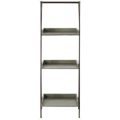 Ella Leaning Etagere 3-Shelf in Black Iron/Ash Grey