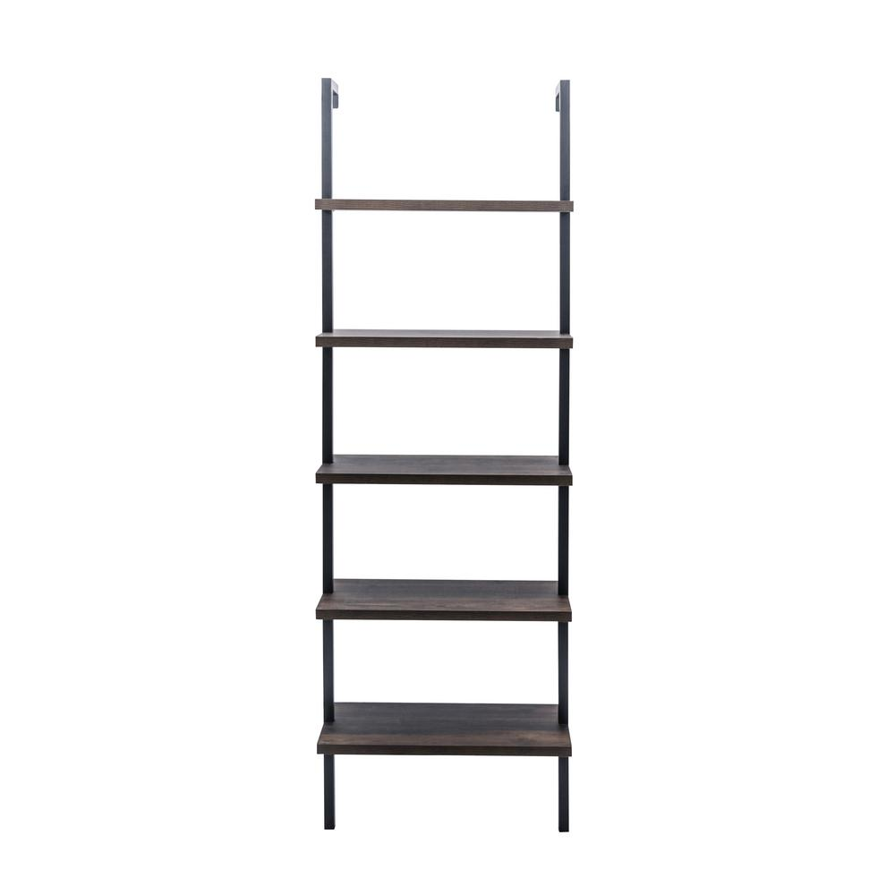 Nathan James Theo Warm Nutmeg 5-Shelf Ladder Bookcase with Metal ...
