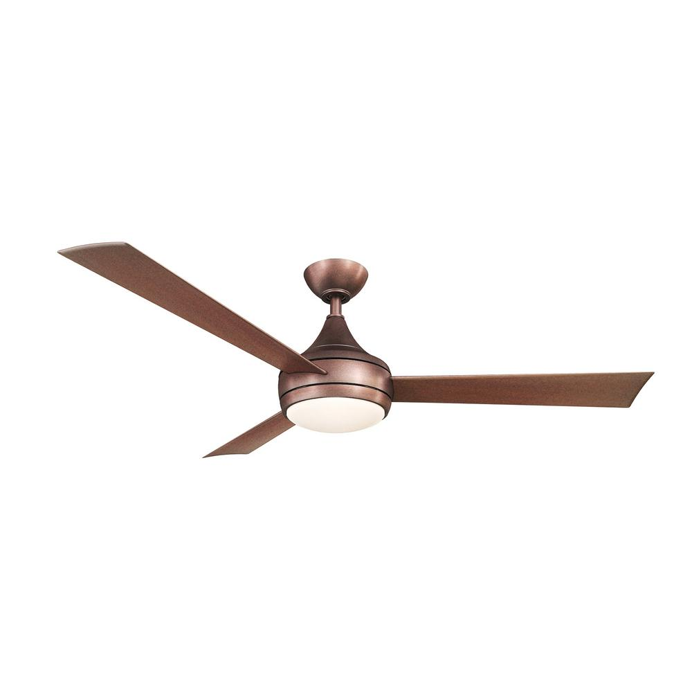 Atlas Donaire 52 in. LED Indoor/Outdoor Brushed Bronze Ceiling Fan with Light with Remote Control