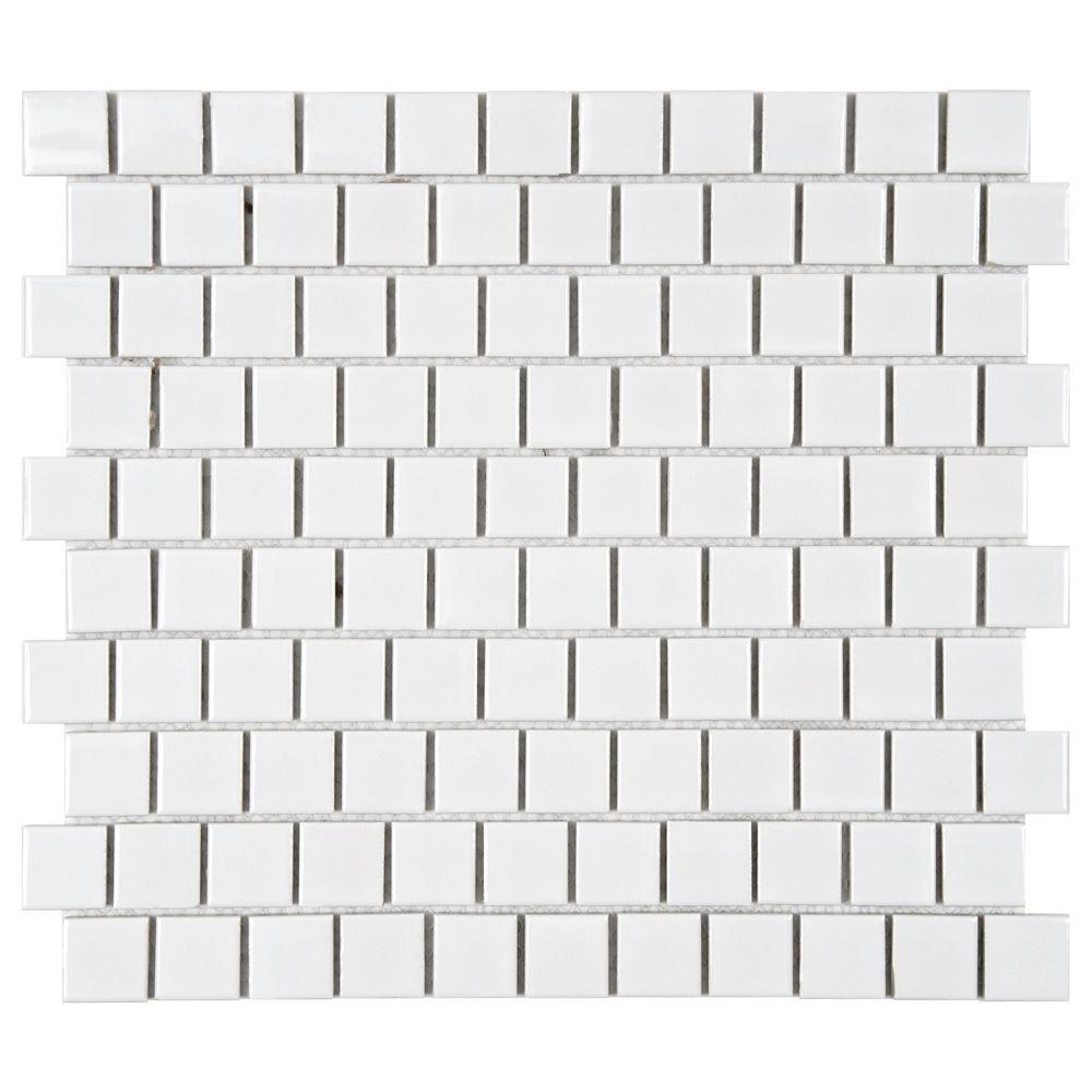 Merola Tile Metro Square Offset Glossy White 10 3 4 In X