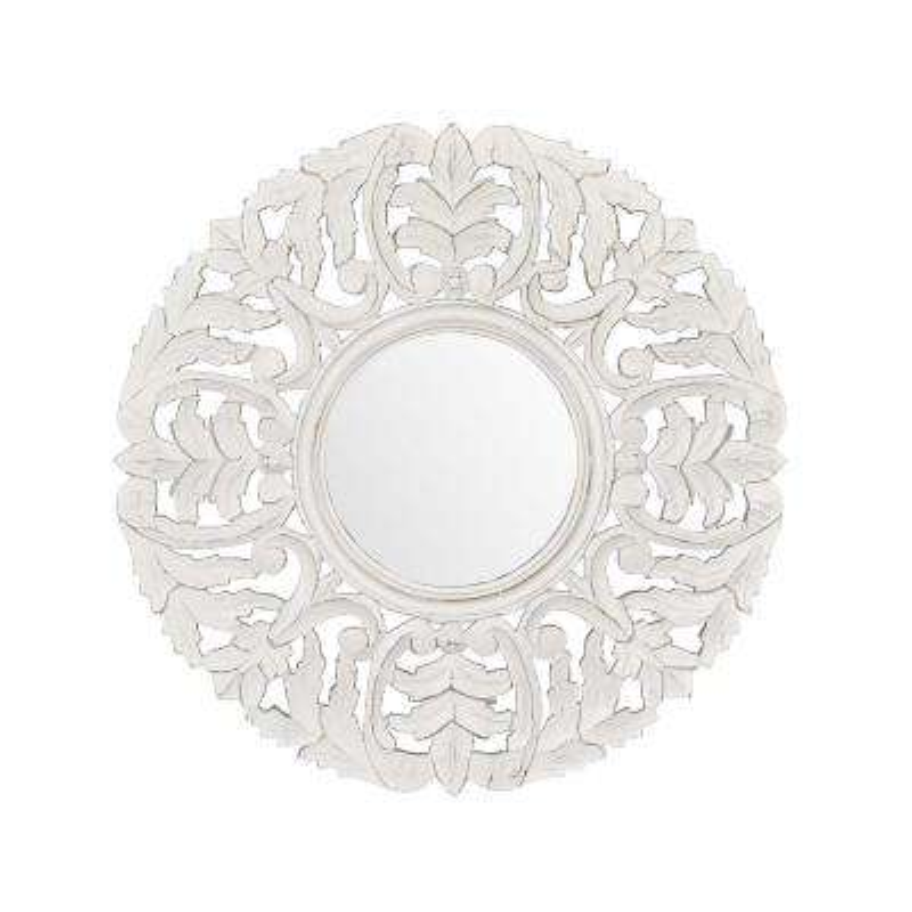 Tagen White Carved Mirror