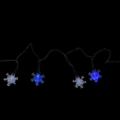10-Light Battery Operated Blue and White LED Snowflake Christmas Lights with 3.8 ft. Green Wire