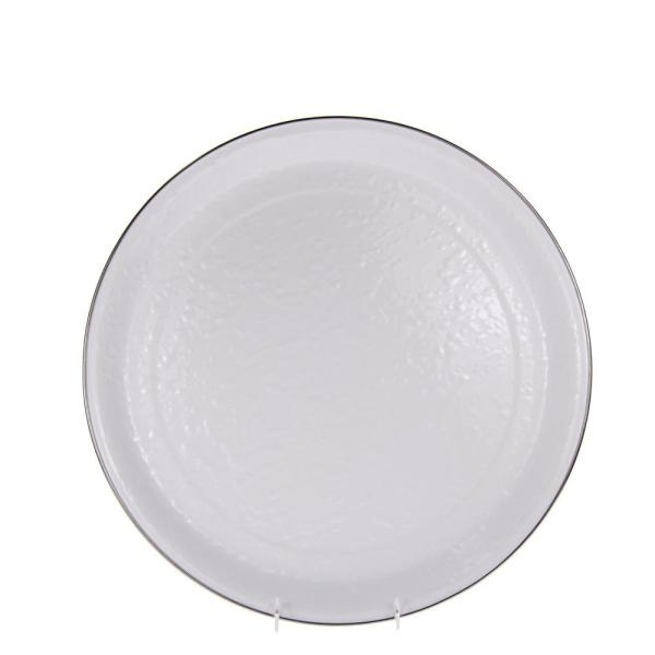 Solid White 15 5 In Enamelware Serving Tray