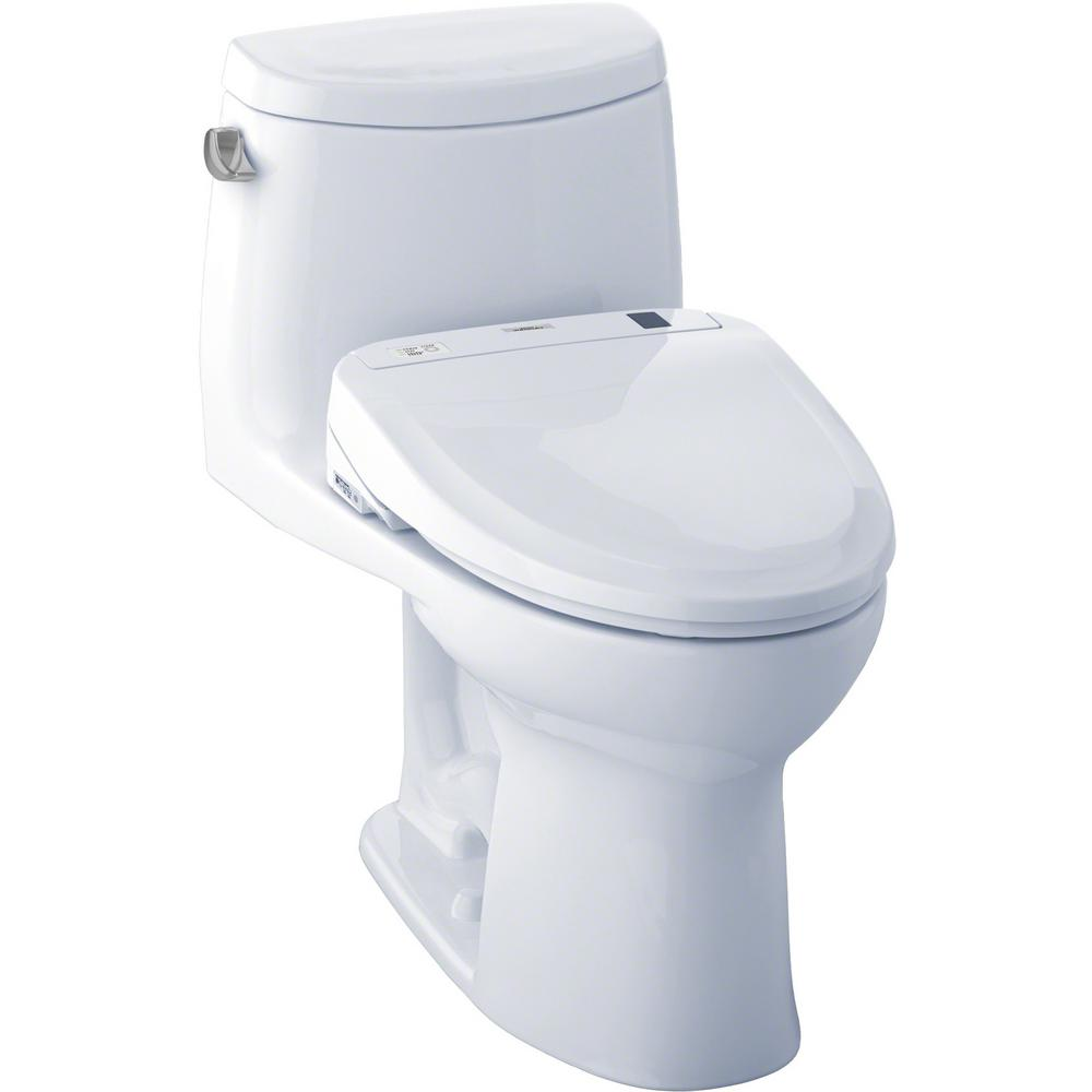 Toto Ultramax Ii Connect 1 Piece 1 28 Gpf Elongated Toilet With Washlet S300e Bidet And Cefiontect In Cotton White Mw604574cefg 01 The Home Depot