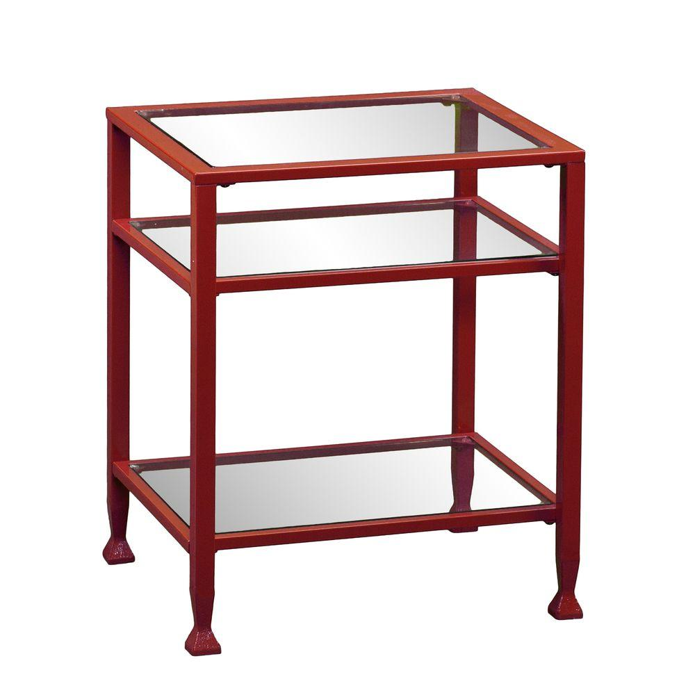 Southern enterprises red glass top end table hd864761 for Red side table