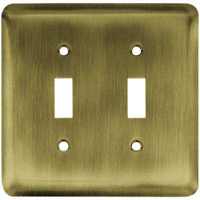 Stamped Round Decorative Double Switch Plate, Antique Brass
