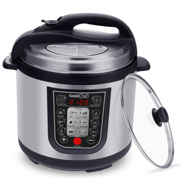 Geek Chef 11-in-1 Multi-Function 6 Qt. Black Electric Pressure Cooker with