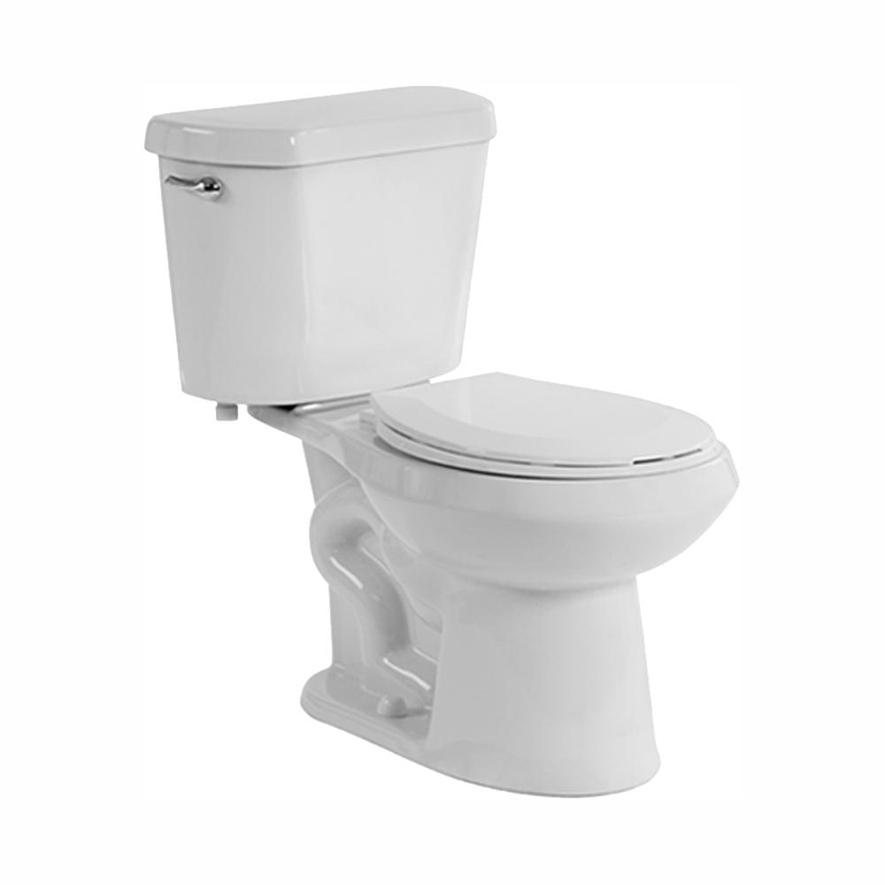 Glacier Bay 2-Piece 1.28 GPF High Efficiency Single Flush Elongated Toilet in White, Seat Included (9-Pack)