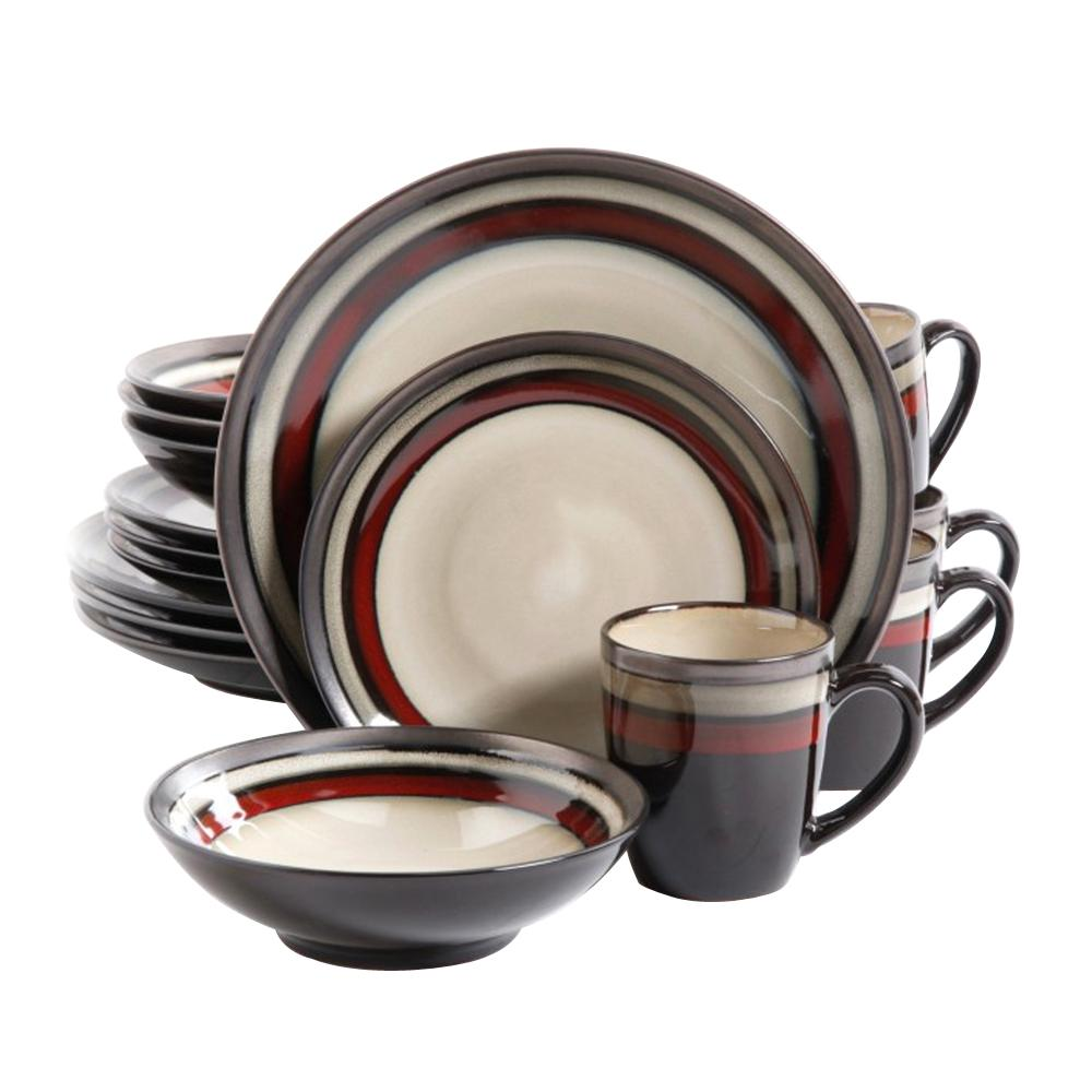 GIBSONelite GIBSON elite Lewisville 16-Piece Red Dinnerware Set, Ivory