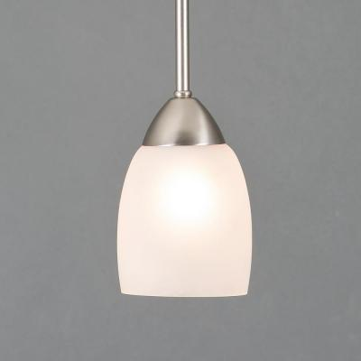 Mirror Lake 1-Light Brushed Nickel Mini Pendant with White Etched Glass Shade