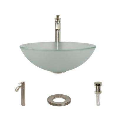 Glass Vessel Sink in Frosted with R9-7006 Faucet and Pop-Up Drain in Brushed Nickel